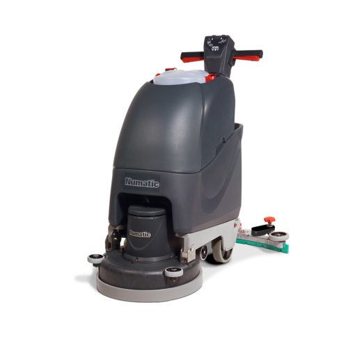A push behind scrubber drier for terrazzo, tiles and ceramic floors that is battery operated