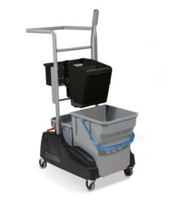 A compact dual bucket cleaning system incorporating clean and dirty water buckets. Capacity Clean; 28 L, Capacity Dirty; 15 L. Deep Storage Tray, 30L Waste Bin